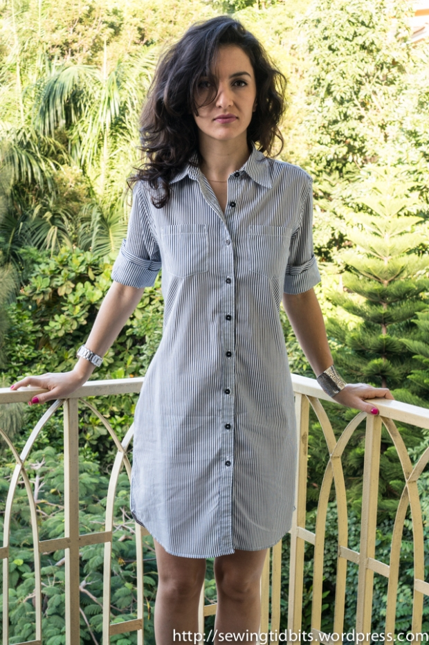 Sewing Tidbits - Striped Shirtdress-4