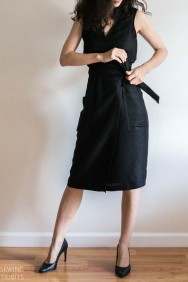 Just Patterns Black Linda Wrap Dress by Sewing Tidbits