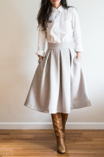 Just Patterns Grey Wool Stephanie Skirt by Sewing Tidbits